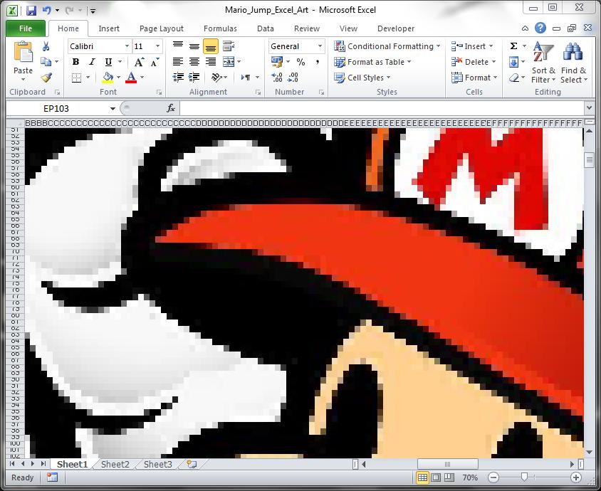 Excel Art Result Zoomed